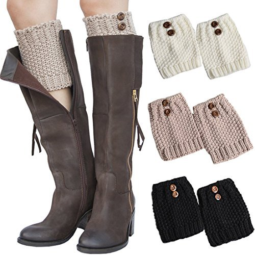 3 Pairs Women Boot Cuffs Leg Warmers Crochet Short Knitted Socks Warm Toppers Winter FAYBOX Color Map: Multicoloured -