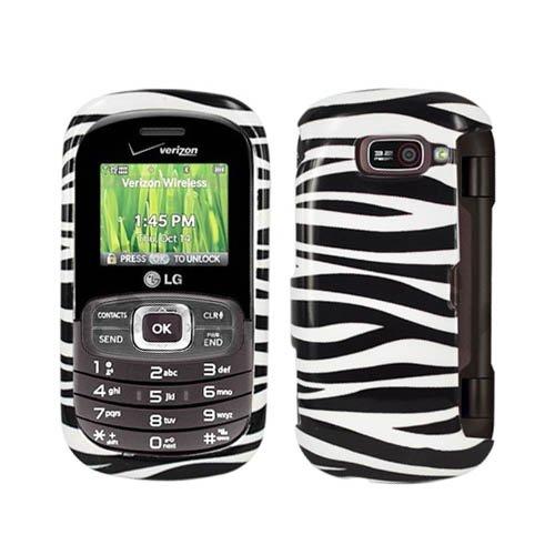 Hard Plastic Snap on Cover Fits LG VN530 Octane Zebra Black and White Glossy