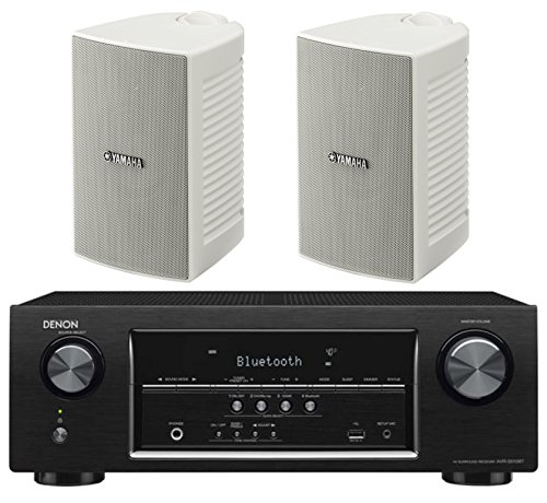 Denon 5.2 Channel 700-Watt Full 4K Ultra HD Bluetooth AV Home Theater Receiver + Yamaha High-Performance Natural Surround Sound 2-Way Indoor/Outdoor Weatherproof Speaker System (Pair)
