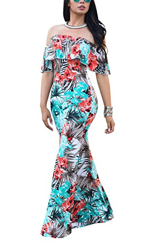 (Suimiki Vintage Ruffle Plain Floral Printed Off Shoulder Bodycon Long Party Maxi Dress Black Small)