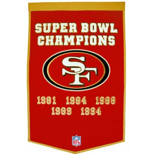 San Francisco 49ers Super Bowl Championship Dynasty Banner - with hanging rod