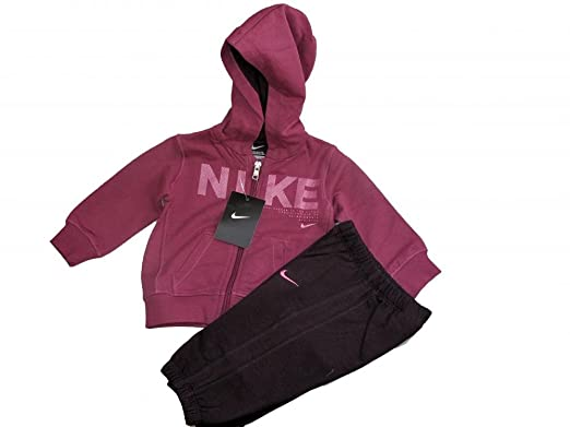 25cef1227ed0 Nike Infants baby little girls fleece dark pink purple warm hooded full  tracksuit (9-12 months)  Amazon.co.uk  Clothing