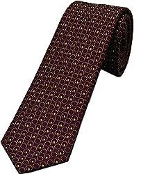 Zarrano Skinny Tie 100% Silk Woven Burgundy Tonal Geometric Tie