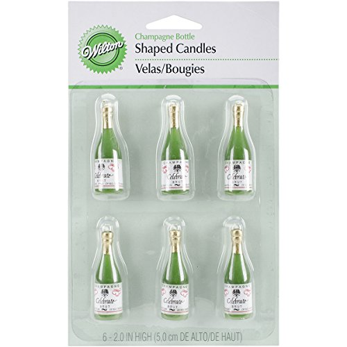 Wilton Candles and Cake Decorations 2 Inch Champagne Bottles 6Pack