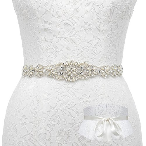 (SWEETV Pearl Beaded Wedding Dress Belt Rhinestone Bridal Belt Sash for Evening Gown with Ribbon, White)