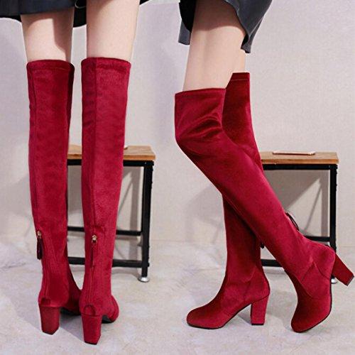 Étendue Le Femme Plus Démarrage Chaussures Troupeau Beauty Neige Top Hauts Cuisse Femme Femmes Hautes Rouge Chaud Genou Bottes De Talons Hiver Martin 07qxqwBz