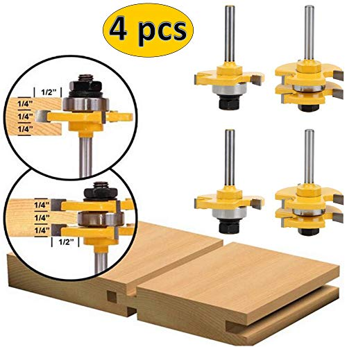 (4Pcs Tongue Groove Router Bit Set, 1/4 inch Shank Wood Door Flooring 3 Teeth Adjustable, T Shape Wood Milling Cutter Woodworking Tool, Perfect for Engraving Machine Trimming Machine )