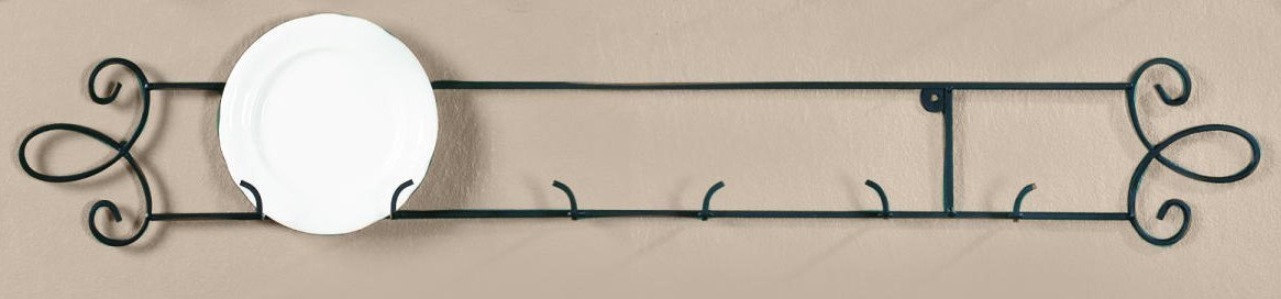 Augusta Black Horizontal Plate 35.75W Wall 3-Place Rack [Kitchen] Décor and Design COMINHKR038190