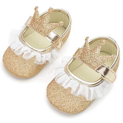 bc5b697889b91 LIVEBOX Infant Newborn Baby Girl Shoes, Premium Soft Anti-Slip Lace Crib  Shoes Sequin