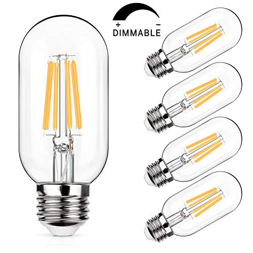 LED Edison Bulb Dimmable, 60W Equivalent 800Lumens, Warm White 2700K, 6W T45/T14 Vintage LED Filament Tubular Light Bulbs, E26 Medium Base, Pack of 4