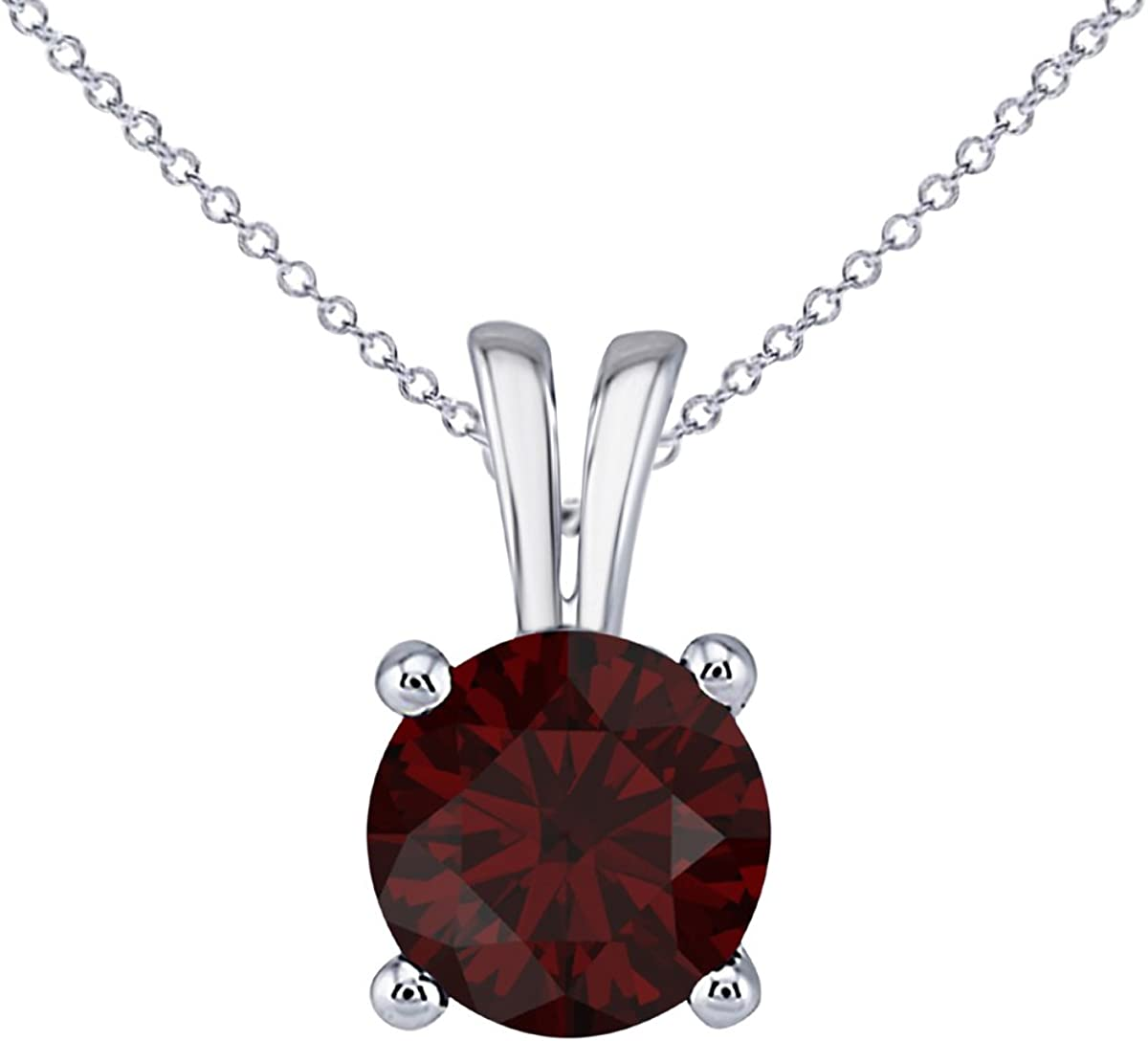Hot Classic Look 1.00 Ct Round Cut Red Ruby CZ Solitaire Pendant Necklace for Women 18 16+2 Ext.
