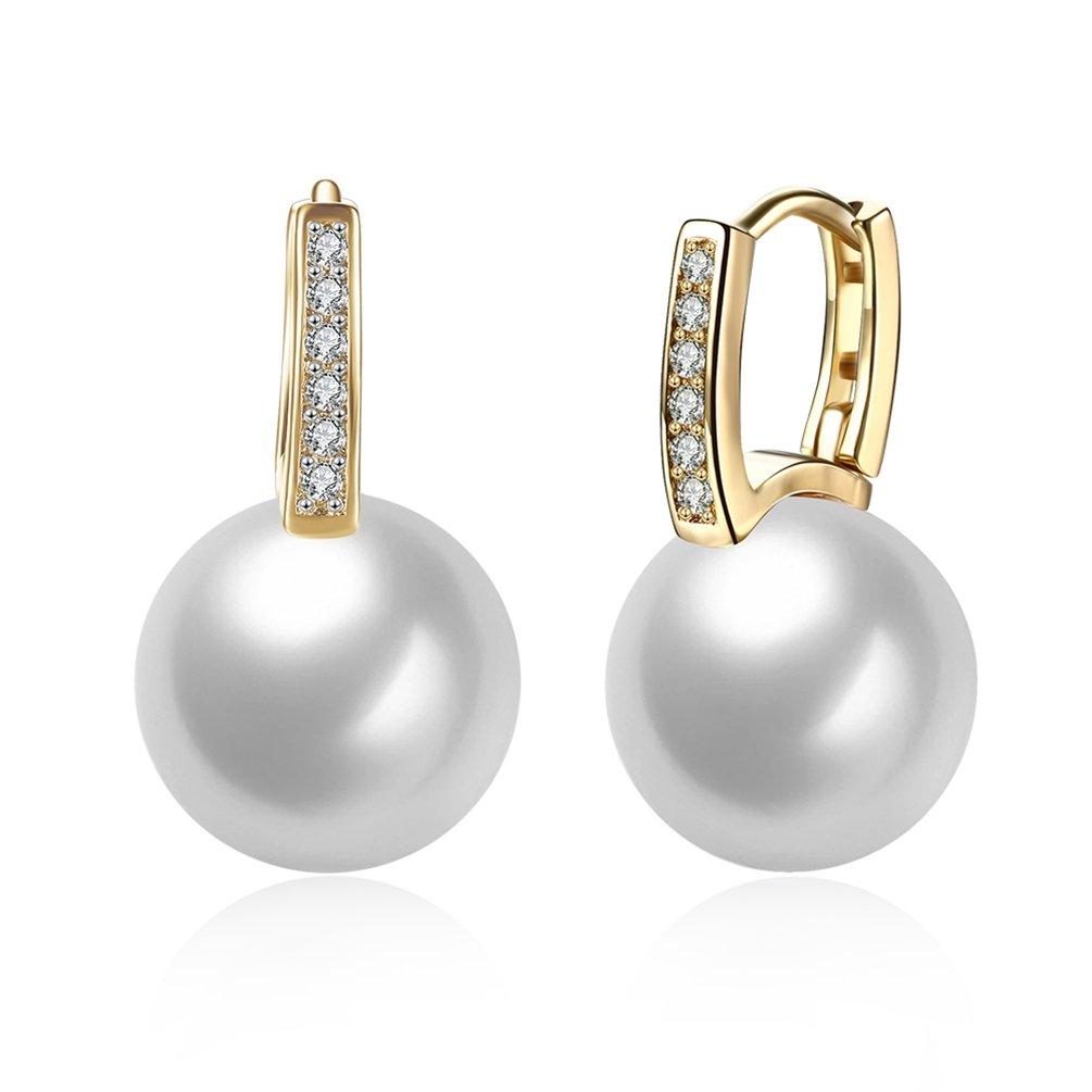 FENDINA Fashion Jewelry Women's Simulated Pearl Huggie Hoop Earrings 18K Champaign Gold Plated CZ Diamond Inlaid 12MM