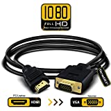 HDMI to VGA Adapter Cable, NewBEP 6ft/1.8m Gold-plated 1080P HDMI Male to VGA Male Active Video Converter Cord Support Notebook PC DVD Player Laptop TV Projector Monitor Etc