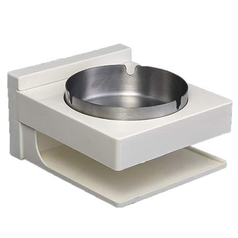 ruiruiNIE Multifuncional Cenicero de Pared de Acero Inoxidable Adhesivo Bin Asiento para Cenizas Caja de Fumar para baño Baño Oficina de Hotel - A #