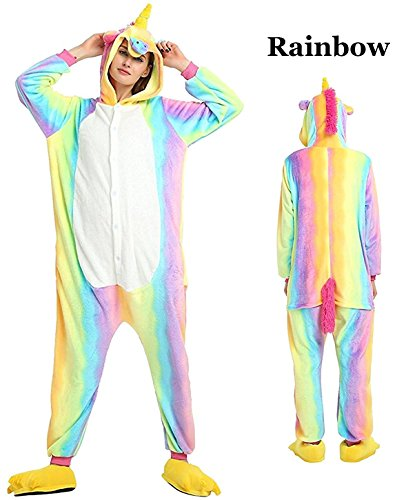 Unisex Adult Animal Pajamas Kigurumi Unicorn Onesie Halloween Cosplay Costume (XL, (Plus Size Unicorn Costumes)
