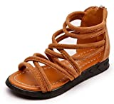 Bumud Girls Gladiator Ankle-Strap Back Zipper Sandal Outdoor Summer Shoes(Toddler/Little Kid) (10 M US Toddler, Brown)
