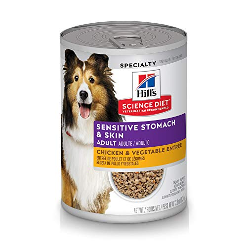 Hill's Science Diet Canned Dog Food, Adult, Sensitive Stomach & Skin, Chicken & Vegetable Entrée, 12.8 oz, 12 pk