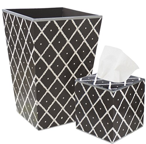 Allen G Designs Hand Painted Wooden Wastebasket and Tissue Box Set - Diamond Design