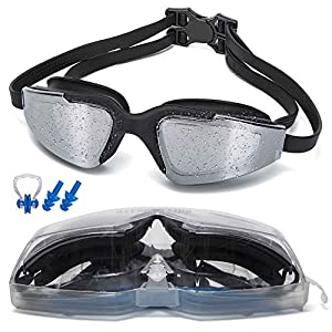 Street tribe Swim Goggles, Wide View Swim Goggles,Swimming Goggles Anti Fog UV Protection No Leaking Triathlon Swim Goggles with Free Protection Case for Adult Men Women Youth Kids Child 12 Choices