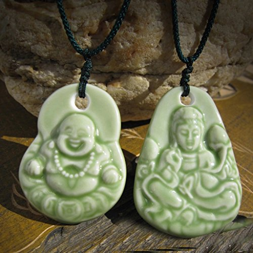 - usongs Emboss couple models jewelry piece Jingdezhen Ceramic Guanyin Buddha necklace pendant necklace