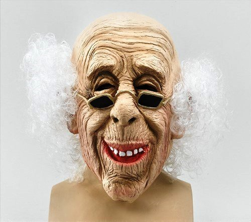 Old Man Latex Adult Fancy Dress Mask with Hair