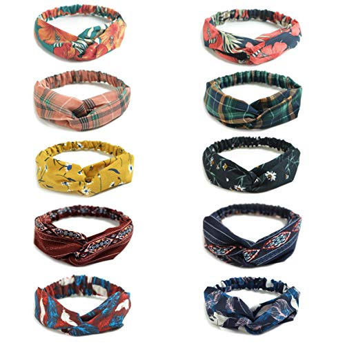 (10 Pack Women's Headbands Boho Flower Printing Twisted Criss Cross Elastic Hair Band Accessories D)
