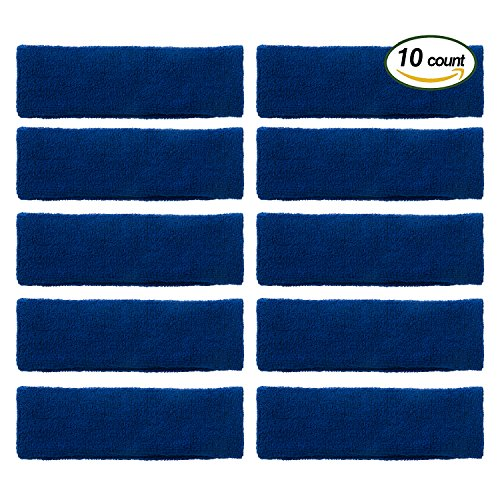 OnePlus Athletic Headbands, Durable Head Sweatbands for Basketball, Tennis, Running, Yoga, Fitness and More (10 Pack) (Blue)