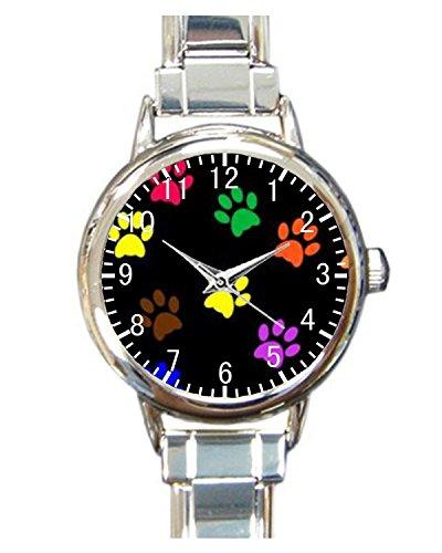 Paw Print Dog Paw Custom Womens Round Charm bracelet Wrist Watch (Charm Puppy Watch Dog)