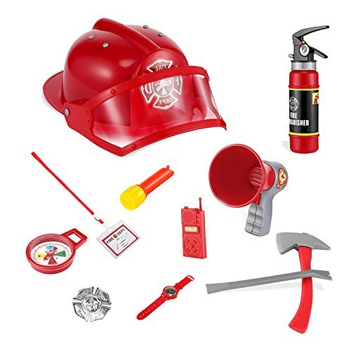 Fireman Gear Firefighter Costume Role Play Toy Set, Glonova 11 Pcs Fireman Play Set for Kids with Fireman Helmet and Accessories for Christmas Gift, Party