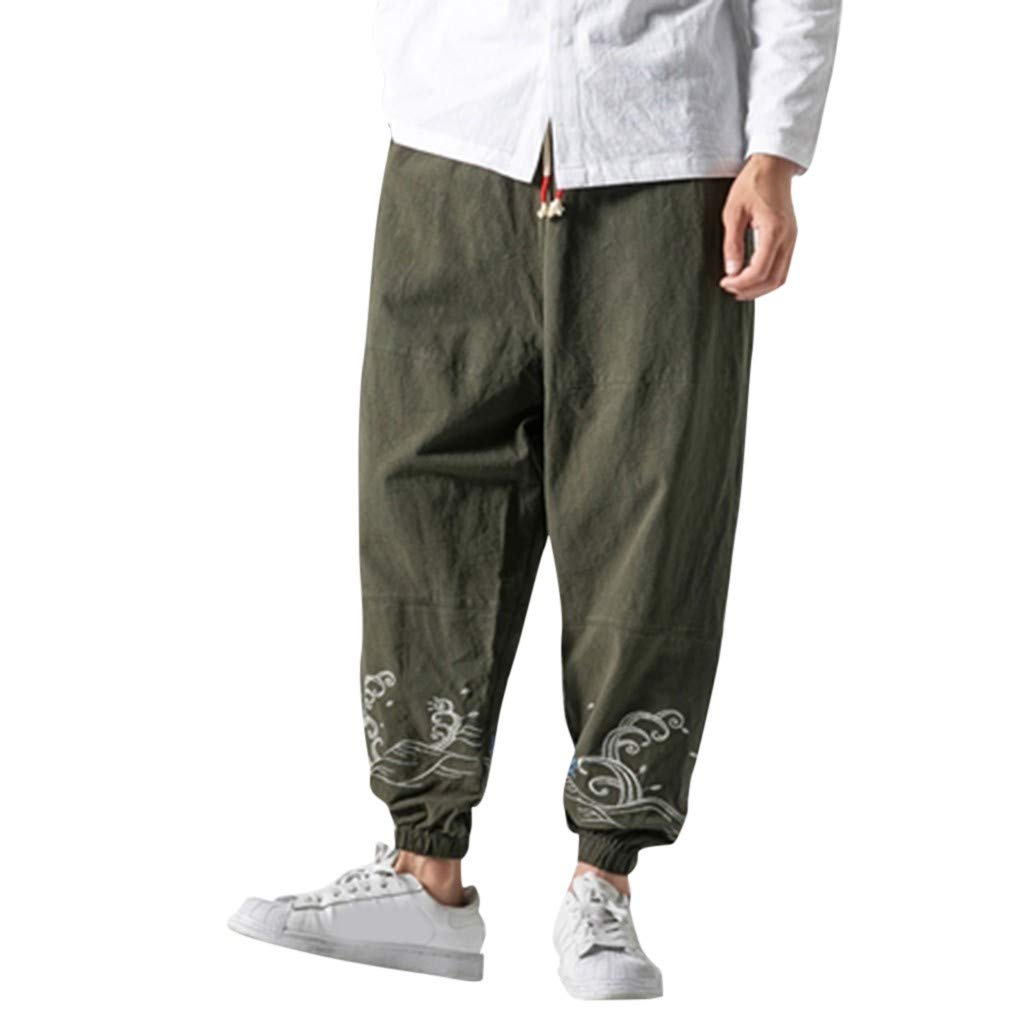 Aleola Men's Flax Retro Trousers Large Individualized Printed Trouser (Green,XXXXXL) by Aleola_Men's Pants
