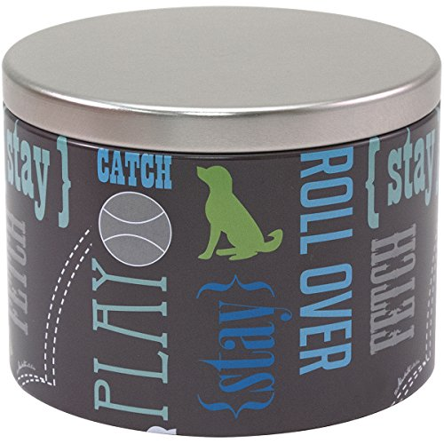 Small Dog Treat Jar (Paw Prints Small Tin Treat Jar, Wordplay Design, 5.25 x 4 x 5.25 Inches (37540))
