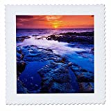 3dRose Danita Delimont - sunsets - Sunset and tide pool above the Pacific, Kailua-Kona, Hawaii - 18x18 inch quilt square (qs_259235_7)
