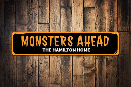 T56imh Monsters Ahead Sign, Personalized Family Name Halloween Sign, Custom Haunted House Decor, Halloween Home Decor - Quality Aluminum Monsters]()