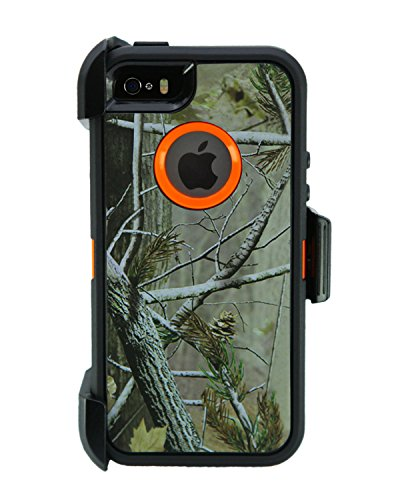 WallSkiN Turtle Series Cases for iPhone 5/5S/5SE (Only) Full Body Protection with Kickstand & Holster - Pinus (Tree Bough/Orange)