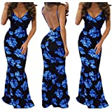 AIMTOPPY Fashion Women Sexy Slim Print V-neck Long Dresses