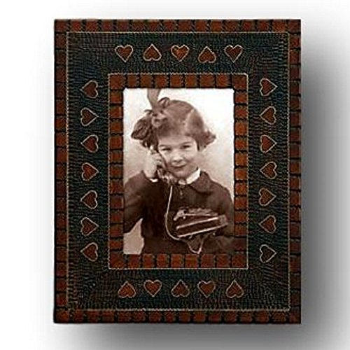 - Wood Inlay Picture Frame Etched Textured Carved Embossed Brown Hearts Natural 3.5 by 5