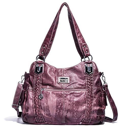 (Handbag Hobo Women Bag Roomy Multiple Pockets Street ladies' Shoulder Bag Fashion PU Tote Satchel Bag for Girl (0044 Pink))