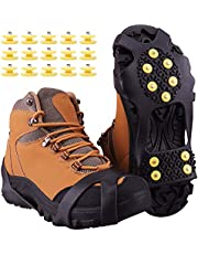MXHUA Ice Snow Grips Anti Slip Winter Boot Ice Gripper Slip-on Shoes Cover with 15-Pack Spare Snow Spikes