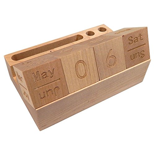 Sacramento Solid Maple Wood Calendar Blocks with Phone and Pen Stand for Office Desk ()