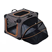 """Pawhut Expandable Foldable Soft Pet Carrier Bag Puppy Dog Cat Sided Kennel Box (24"""" L x 17.9"""" W x 16.9""""H, Gray)"""