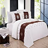 LUXURIOUS Eleanor 8 Piece (8PC) Queen Size BED IN A BAG Set – . Set includes Wrinkle Free Brushed Microfiber Sheet Set, Duvet Cover Set & Super Soft All Season White Down Alternative Comforter
