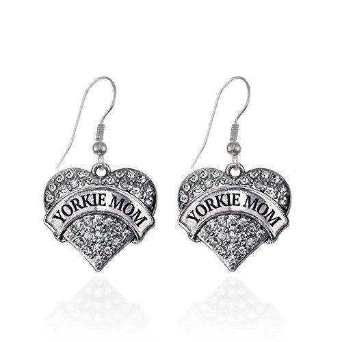 Yorkie Mom Pave Heart Earrings