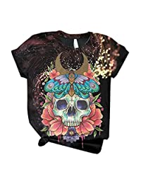 OCEAN-STORE Women T-Shirt Plus Size Short Sleeve 3D Skull Printed O-Neck Tops Casual Blouse