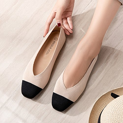 Flats Ballet Shoes apricot amp; Round for Comfortable Toe On Casual Walking Women Slip Design Soft Knitted 5zpwqpdx
