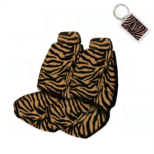 A Set of 2 Universal Fit Animal Print Low Back Bucket Seat Covers and 1 Key Fob - Tiger
