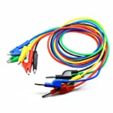 Willwin 5 Colors 4MM Stackable Banana Plug and Alligator Clip Test Leads Use for Multimeter or Laboratory Electric Testing Work