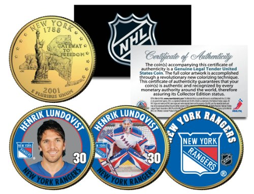 HENRIK LUNDQVIST * RANGERS * Colorized New York State Quarters U.S. 3-Coin Set