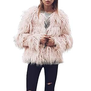 Sonnena New Ladies Womens cálido abrigo de piel sintética chaqueta Parka de invierno ropa, color rosa, tamaño xxxl