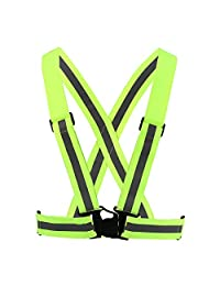EECOO Chaleco Reflectante, Alta Visibilidad Chaleco de Seguridad Ajustable con Fluorescente, Adecuado para Deportes al Aire Libre, Correr de Noche, Caminar y Montar en Bicicleta