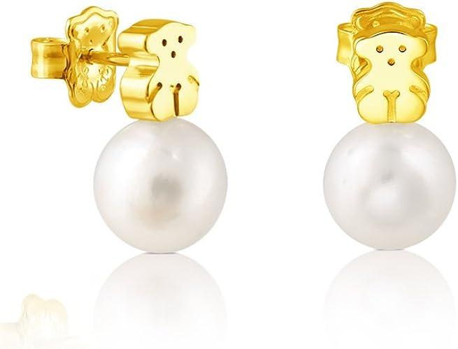 Pendientes TOUS Sweet Dolls en oro amarillo de 18 kt y perlas cultivadas de 0,95 cm